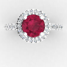 1.25 Ct SI1 Genuine Ruby Engagement Ring 14K White Gold Diamond Rings Size P M N