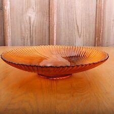 Vintage Amber Glass Swirl Radial Pattern Goblet Bowl