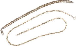 schöne Halskette und Armband Schmuck - Silber 925, teilvergoldet