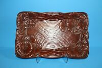 Vintage Syroco Wood Carved Hibiscus Tray Platter Easter Spring Floral Decor EUC