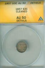 1857 3CS Three Cent Silver ANACS AU 50 DETAILS (1824402)