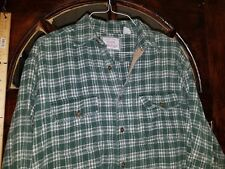 American Eagle HEAVY Flannel Shirt Men's Extra Large XL Green White  W23