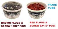 MEGA BUCKET TRADETUB RAW PLUGS + POZI SCREWS SCREW DRIVER BITS RED BROWN RAWL