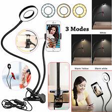 24 LED Camera Long Arm Selfie Flash Ring Light + Mobile Phone Holder USB Clip On