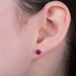 July Birthstone Ruby 10k Solid White Gold Round-Cut Ruby Stud Earrings, 5mm