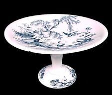 Blue Transferware H&C Ironstone Stork Compote Porcelain Pedestal Dish Antique