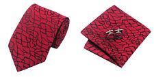 Red Black Novelty 100% Silk Classic Mens Necktie Tie Hanky Cufflink Set NT212