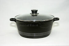32CM die cast antiadhésif deep induction casserole pot cookware couvercle en verre noir