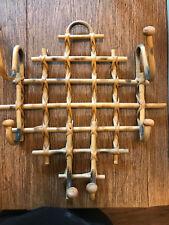 Vintage Pyrography Burnt Bamboo Tiki Clothes Hook Wall