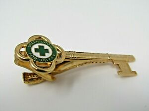Green Cross For Safety Key Tie Clip Bar: Men's Vintage Jewelry Gold Tone