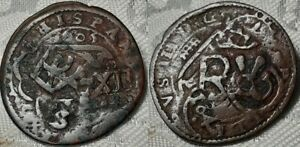 ORIGINAL SPANISH 1605 TO 1642 COUNTERMARK 12 MARAVEDIS PHILLIP IV COPPER COIN