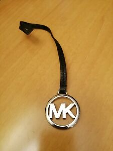 """MICHAEL KORS 1 5/8"""" MK SILVER TONE BAG CHARM with BLACK COLOR SAFFIANO LEATHER"""