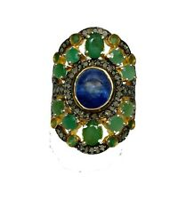 Vintage Victorian Design Ring Sapphire Emerald With Diamond 925 Sterling Silver