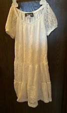 Girl's Btween Size 10/12 Lacey Look Cream Color Dress 100% Polyester Euc Lined