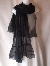 NWT Cejon Elegant Long Black Ethereal Ruffle Hem Scarf Striped Velvet Trim OSFA