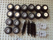 Lego Minifig ~ Lot Of Wheels With Tires & Mixed Axles Sets Car Truck Rim/Hub #gv