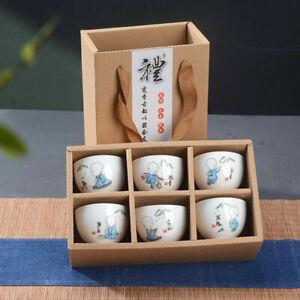 6Pcs Hand Painted Ceramic Kung Fu Tea Set Bowl Chinese Porcelain Creative Gifts