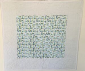 Baby Quilt I Love Mommy I Love Daddy White Green Blue Back Blue with dots