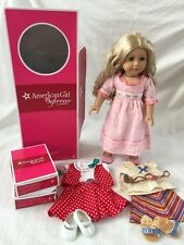 "Retired 18"" American Girl Doll Caroline Abbott in Meet Outfit w/ Extra Outfits"