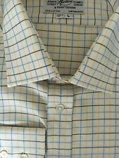 """Harvie /& Hudson 19/""""//36/"""" Coton Brossé Bleu Marine//Grn//Rouge Chemise à carreaux-simple manchette"""