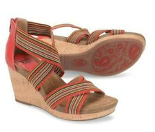 Womens Sofft Carey Fire Red Multi Strappy Stretch Sandal Cork Wedge Shoes 9.5
