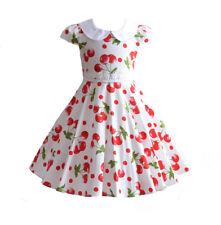 NUEVO niña CEREZA Verano Algodón Vestido de fiesta azul rojo 4 5 6 7 8 años