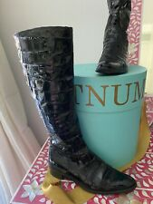 RUSSELL & BROMLEY ITALY ITALIAN LEATHER BLACK CROC KNEE HIGH LONG ZIP BOOTS 36 3