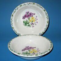 Thomson Pottery FLORAL GARDEN Soup Cereal Bowls Set of 2 Purple Geranium Bowl