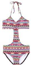 Billabong Cut Out Lato Ragazze Giovanile Costume Intero 10 Multi Nuovo