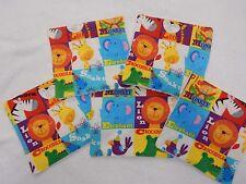 Handmade Baby Wipes Top 2 Toe - 100% Cotton - Bright Zoo Animals - Set of 5!