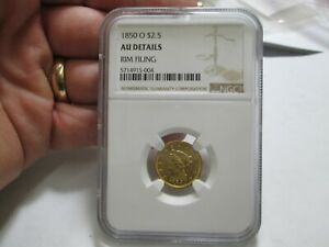 1850 O 2.5 DOLLAR LIBERTY GOLD COIN IN NGC ABOUT UNCIRCULATED CONDITION