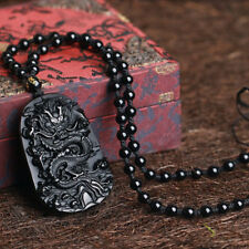 Natural Black Obsidian Hand Carved Chinese Dragon Lucky Pendant + Beads Necklace