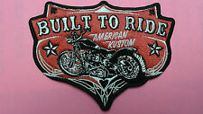 """1 pc BUILT TO RIDE BIKER EMB. PATCH 5""""x3-3/4"""" SEW-ON"""