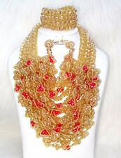 PrestigeApplause Gold & Red Full Crystal Party Wedding Bridal Necklace Jewellery