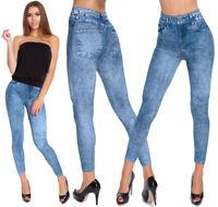 Womens Full Length Leggings Jeans Imitation Ladies High Waisted Pants M-XL G10