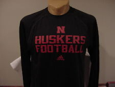 SWEET Nebraska Cornhuskers Football Men's Sm Black Adidas ClimaLite Shirt, NEW!