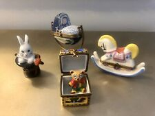 Lot Of 4 Baby Themed French Limoge Boxes Vintage Mint Beautiful Collection!