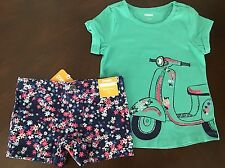 NWT Gymboree Girl Shore To Love vespa Tee & Floral Shorts Outfit 4 5 6
