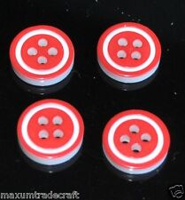50pcs red round 4 holes resin buttons approx 12mm