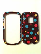 HTC HERO G3 GLOSSY MULTI COLOR POLKA DOTS ON BROWN COVER NEW