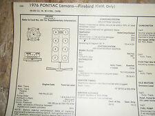 1976 PONTIAC LEMANS FIREBIRD 350 CU IN 4 BBL CARB CALIF SUN TUNE UP SPECS SHEET