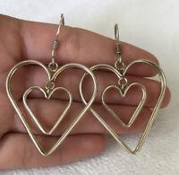 Vintage 925 Sterling Silver Large Double Open Heart Dangle Earrings