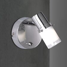 WOFI LED Lámpara Pared Spot Leander 1 Luz Cromo Vidrio ajustable interruptor