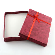6pcs Red Rectangle Jewelry Bowknot Cardboard Gift Boxes with Sponge 160x120x30mm