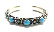 Native American Sterling Silver Navajo Handmade Natural Turquoise Cuff Bracelet