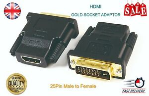 HDMI FEMALE TO DVI-D (24+1) MALE GOLD SOCKET ADAPTOR ADAPTER CONVERTER JOINER