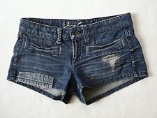 JUICY COUTURE sz 27 Jean Shorts Distressed Heart Patch Deconstructed Denim Women