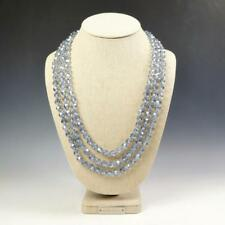 "Sparkling Faceted Icy Blue Crystals Bead Knotted 72"" Long Strand Wrap Necklace"