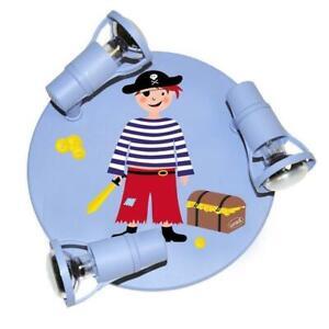 Kinderlampe Deckenrondell Pirat hellblau Deckenleuchte 3 Strahler