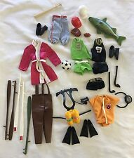 Vintage Mattel Big Jim Lot of Sports Equipment Soccer, Baseball, Fishing, Scuba